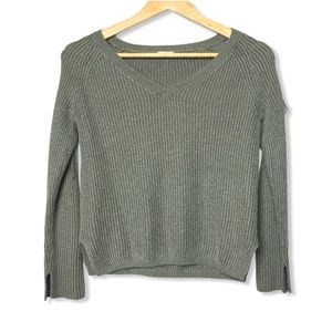 Garage Ribbed Laced Arm Sweater in Green | Small